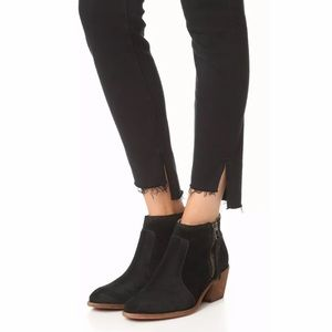 Madewell Janice Black Suede Ankle Boots sz 7.5 M